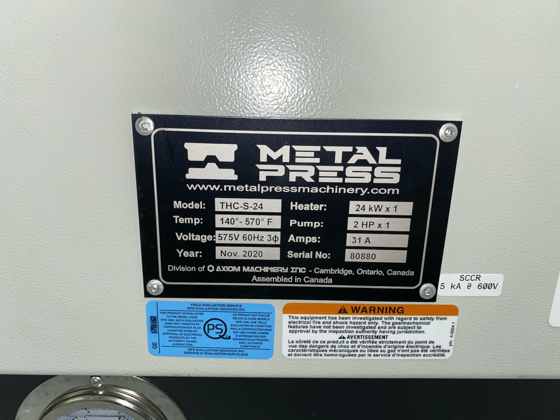 New MetalPress Hot Oil Temperature Control Unit #80880